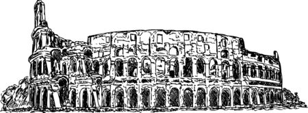 colosseo: vettore - mano disegnare Colosseo romano isolato sullo sfondo