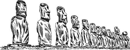 moai: vector - mano dibujar Ahu tongariki - isla de Pascua