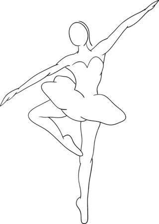 outline drawing:   abstract Ballet dancer , isolated on background