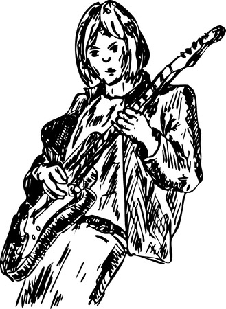 hand draw, guitar player isolated on background Vector