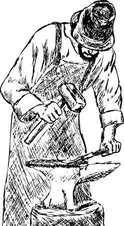 smith: vector - blacksmith with hammer isolated on background