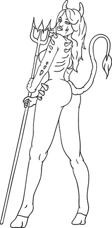 vector -  young sexy devil woman with  trident  Stock Vector - 7938680