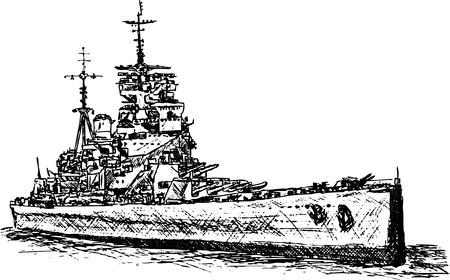 vettore - battaglia nave isolato su sfondo bianco