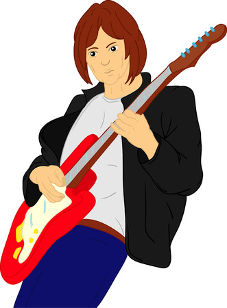 vector - hand draw, guitar player isolated on background Stock Vector - 7938683