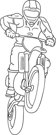 freeride: vector - moto freestyle aislado en segundo plano