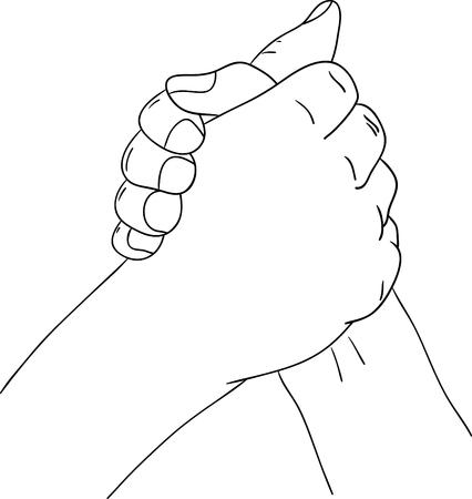 holding arm: hand holding , arm wrestling - sport Illustration