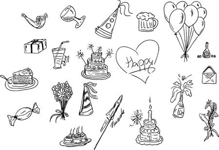 illustration - Set of Birthday icons Vector