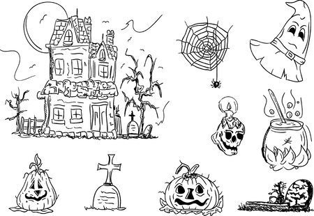 illustration - Set of Halloween images Vector
