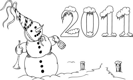 Snowman with trumpet celebrates New Year Vector