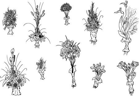 flower arrangement:  hand draw set of flowers bouquet Illustration