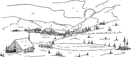 paysage dessin anim�: un village de la petite montagne sous la neige