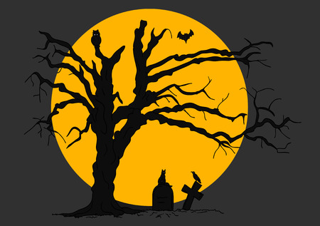 halloween scene with tree and animals Vector