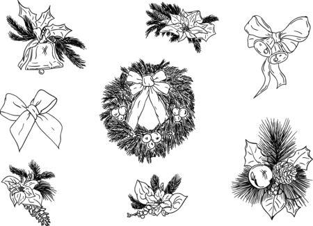 black wreath:  a set of christmas decoration Illustration