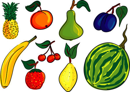 fruit set , isolated on background Vector