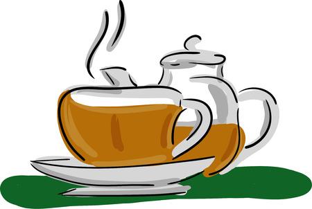 tea set:  tea set isolated on background Illustration