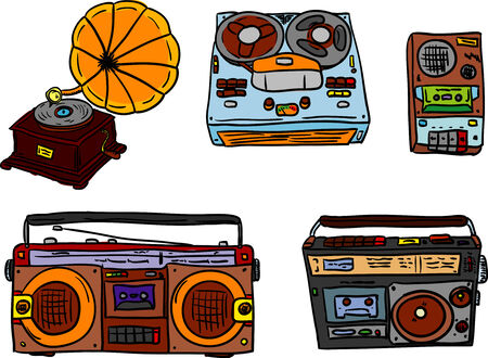 portable audio: vector - set of retro tape players and gramophone