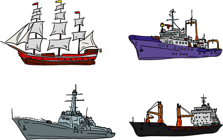 paint container: vector - set of marine ship isolated on background Illustration