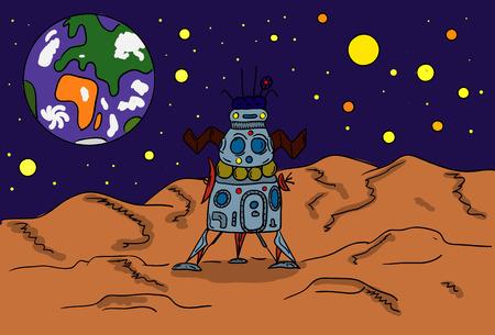vector - The space shuttle on moon Stock Vector - 8276197
