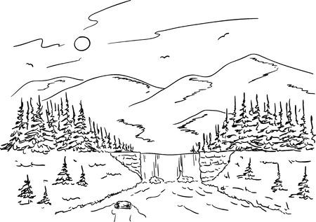 river rock: vettore - paesaggio montano con una cascata sul torrente