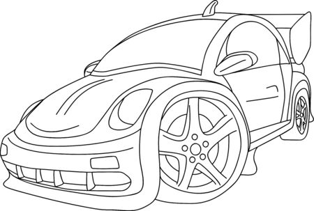 car tuning: cartoon like new VW Beetle tuning Illustration