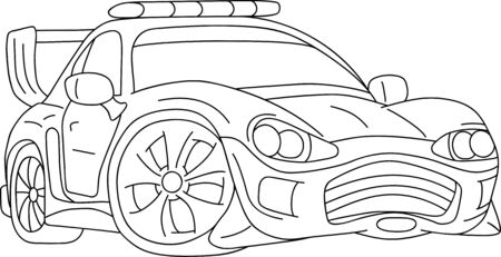 sport car tuning with flashing lights isolated on background Vector