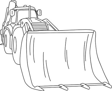 construction dozer: excavator - dozer tractor isolated on background Illustration