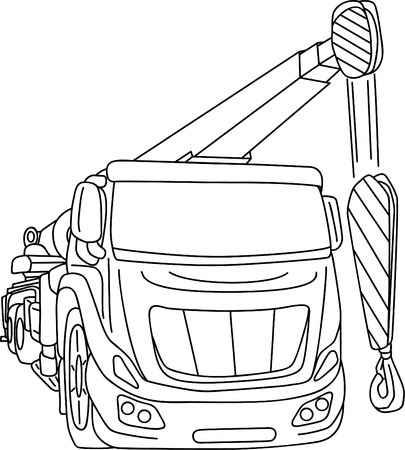 truck mobile crane isolated on background Vector
