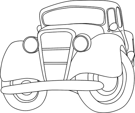 black outline: old car isolated on background
