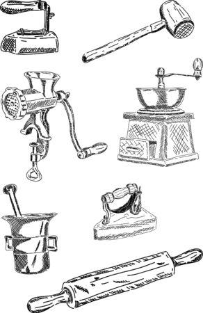 meuleuse: Vecteur - ensemble de vieux ustensiles de m�nage, isol�s sur fond