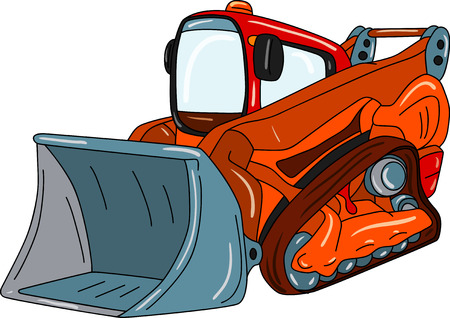 maquinaria pesada: excavadora - pequeño dozer aislado en segundo plano
