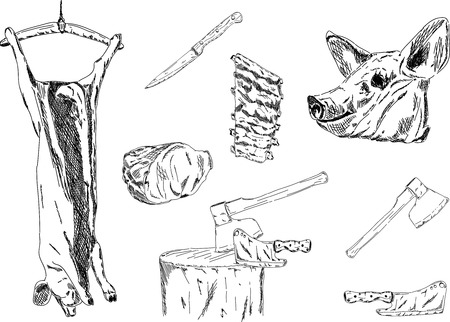 slaughtering: set of pig-slaughtering isolated on background Illustration