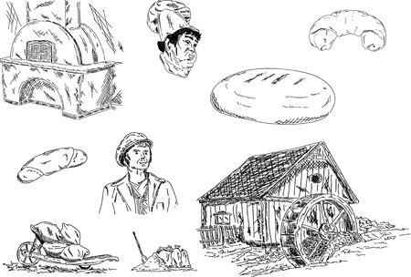 flour:  miller and baker set of their jobs Illustration