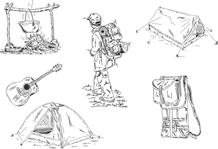 trekking:  camping set isolated on background