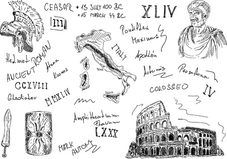 gladiator: vector - set of Roman ancient  fragment