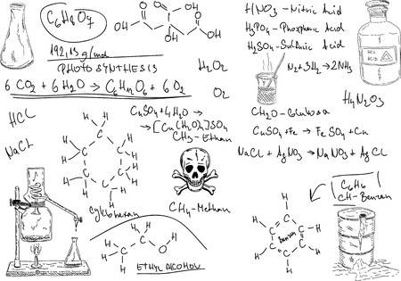 quimica organica: mano dibujar qu�mica org�nica en segundo plano