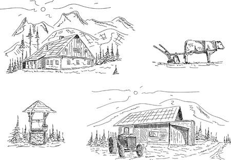 vida bajo montañas - aislados en segundo plano Ilustración de vector
