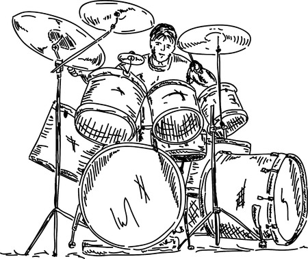 drums: drummer playing isolated on background Illustration
