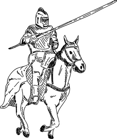 knight horse: Vector - knight on horse isolated on background