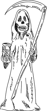 grim: Vector - Grim Reaper with sandglass , isolated on background