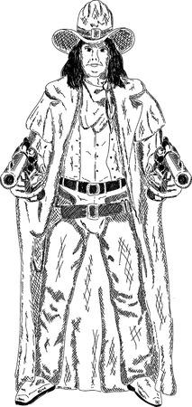 vector - Desperado Boy with guns isolated on background Vector