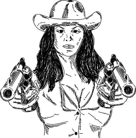 woman with gun: Vector - Desperado Girl with guns isolated on background
