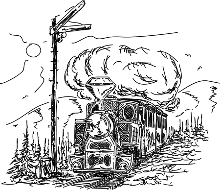 railway history: Vector  - Vintage Steam engine in the countryside Illustration