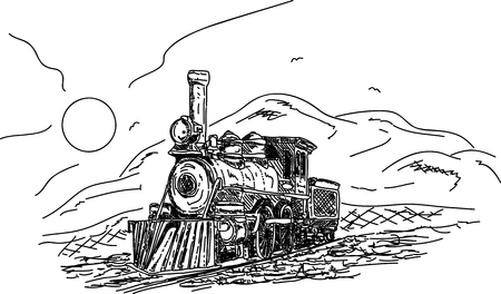 Vector - Vintage Steam engine in the countryside
