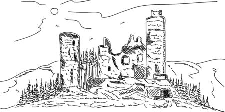 hill top: Vector - old castle , ruins on top Hill