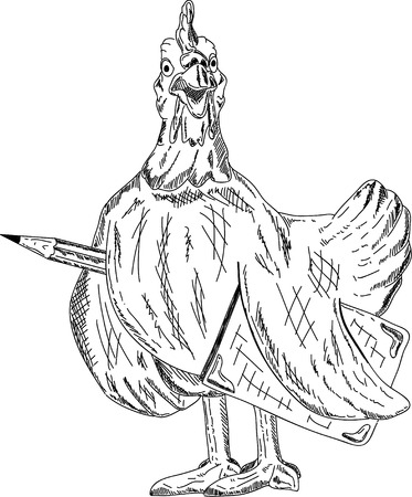 a hen with pencil and notebook Vector