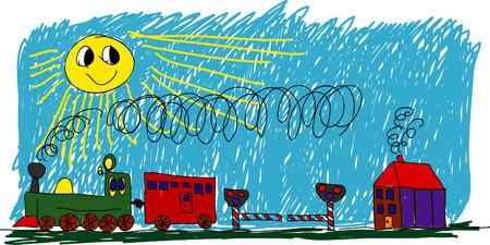 railway track: Kids schilderij - trein in zonnige dag Stock Illustratie