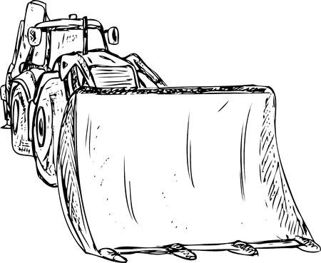 construction dozer: vector - excavator - dozer tractor isolated on background