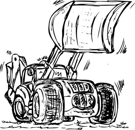 excavator - dozer tractor isolated on background Stock Vector - 9224685