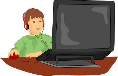 vector  -  A young child working on computer Stock Vector - 9264780