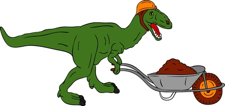 vector -  dinosaur worker  with barrow isolated on background Vector